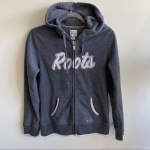 Roots Grey Zip Up Athletic Hoodie Small